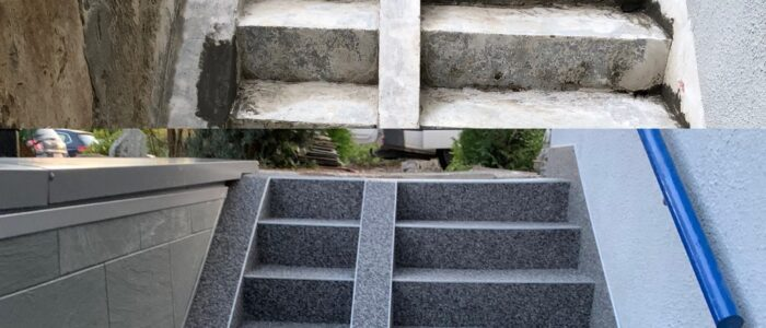 Steinteppich fugenlos Kellerabgang grau vorher nachher