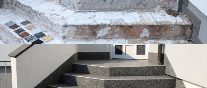 Steinteppich fugenlos Eingangstreppe grau vorher nachher